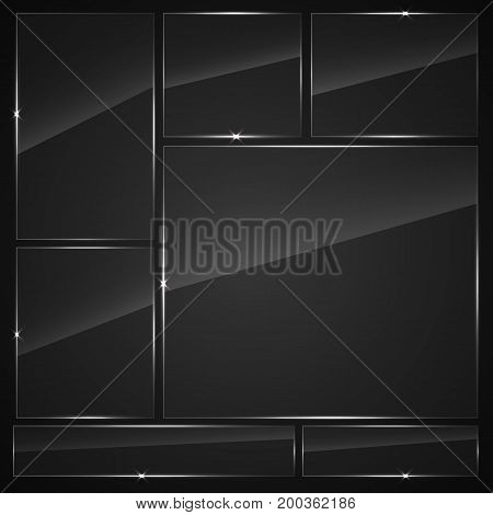 Glass plates set. Vector glass banners on dark background.