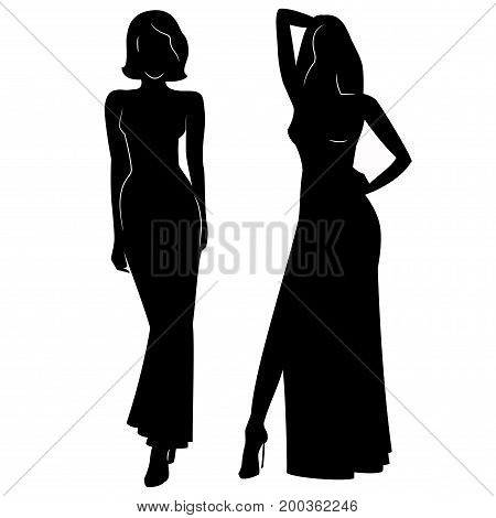 Silhouette of beautiful women in evening dress vector illustration