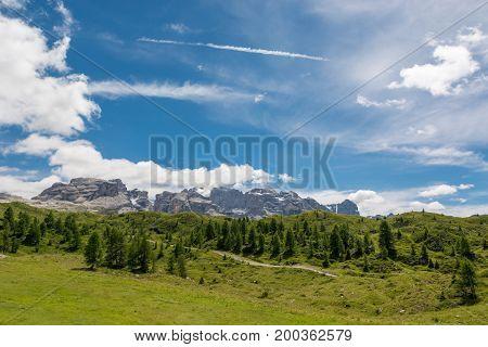 Brenta Group rising above Madonna di Campiglio. Italian Dolomites.