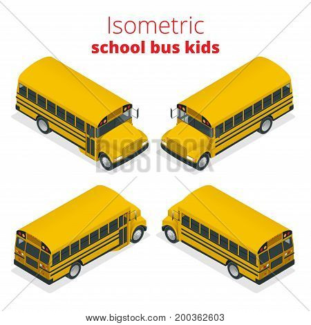 Isometric Yellow School Bus Kids vector illustration isolated on white background. Transportation pupil or student, transport and automobile