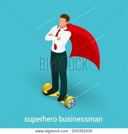 Isometric Superhero concept. Handsome Businessman in a suit superhero riding to work on Self balancing electric scooter. Vector illustration in flat style