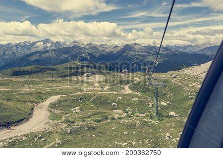 Ski resort in summer. Brenta group, Madonna di Campiglio in Italy.