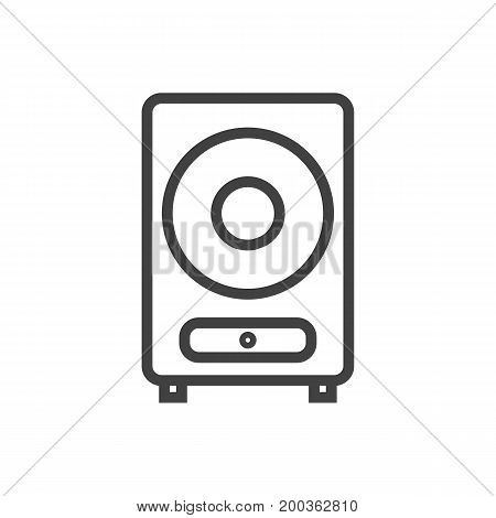 Vector Loudspeaker  Element In Trendy Style.  Isolated Speaker Outline Symbol On Clean Background.