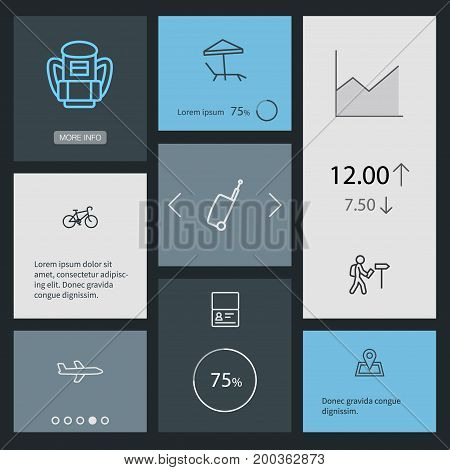 Collection Of Certificate, Bag, Airplane And Other Elements.  Set Of 8 Journey Outline Icons Set.