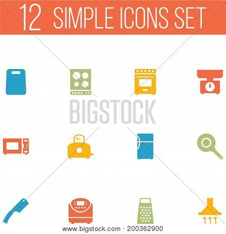 Collection Of Furnace, Cutting, Cooking And Other Elements.  Set Of 12 Cooking Icons Set.