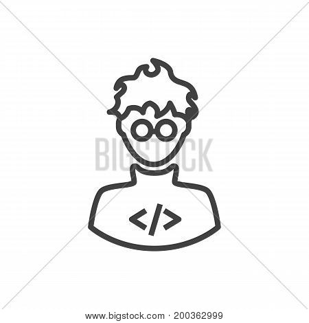 Vector Programmer Element In Trendy Style.  Isolated Developer Outline Symbol On Clean Background.