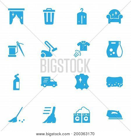Collection Of Washing Powder, Washhouse, Detergent And Other Elements.  Set Of 16 Harvesting Icons Set.