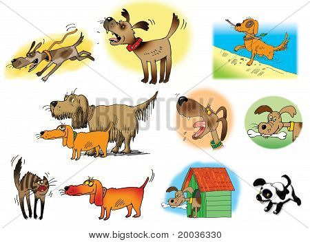 Raster Illustrations Of Dogs