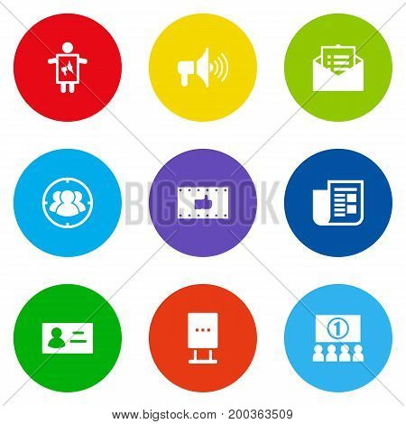 Collection Of Auditorium, Bullhorn, Message And Other Elements.  Set Of 9 Trade Icons Set.
