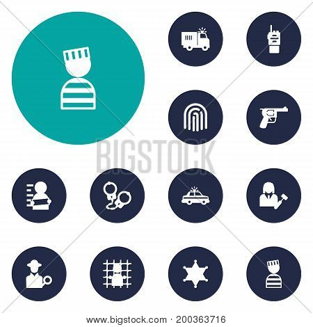 Collection Of Inspector, Walkie-Talkie, Manacles And Other Elements.  Set Of 12 Crime Icons Set.