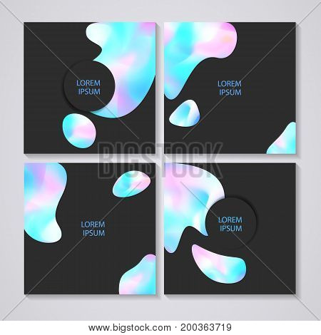 Set of Greeting cards with holographic effect, you can use it for your design, brochure, flyer, poster