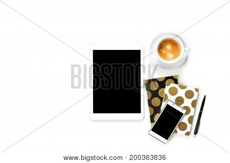 Flat Lay Photo Of Office White Desk With Tablet,cup Of Coffee And Gold Notebook Copy Space Backgroun