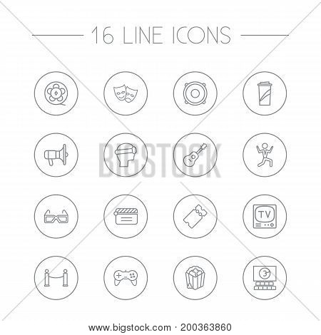 Collection Of Film Role, Guitar, Tv Set And Other Elements.  Set Of 16 Pleasure Outline Icons Set.