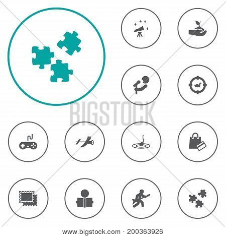 Collection Of Rod, Payment, Telescope And Other Elements.  Set Of 12 Hobbie Icons Set.