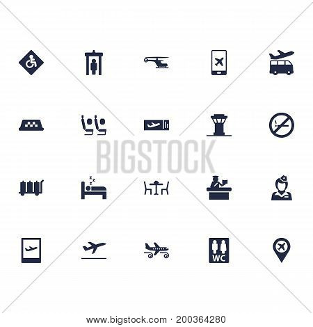 Collection Of Cab, Restaurant, Handicap Elements.  Set Of 20 Airplane Icons Set.