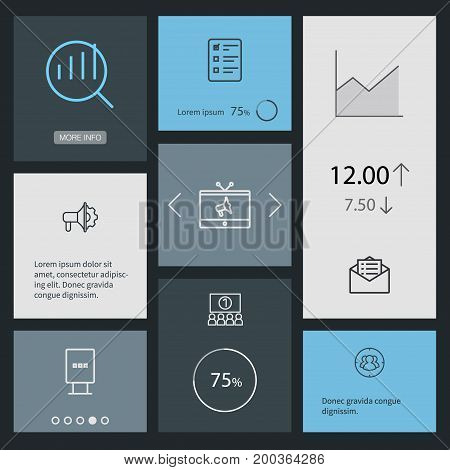 Collection Of Email Promotion, Stand, Target Elements.  Set Of 8 Trade Outline Icons Set.