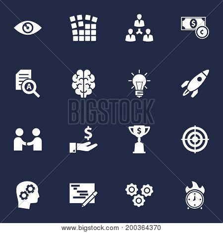 Collection Of Meeting, Rocket, Writing And Other Elements.  Set Of 16 Idea Icons Set.