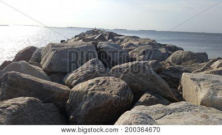 Rock jetty on the Nanticoke River in tyaskin maryland