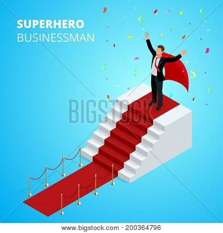 Isometric Super Hero Businessman on the Podium with red carpet isolated on white background. Realistic vector red event carpet, gold barriers.