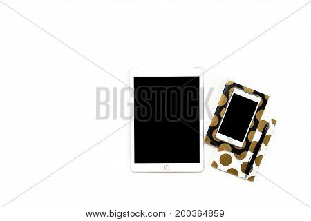 Flat Lay Photo Of Minimalistic White Office Desk With Phone, Tablet And Stylish Gold Notebooks Copy