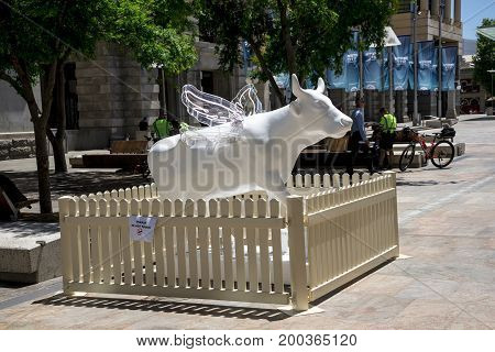 WESTERN AUSTRALIA, PERTH - NOVEMBER 2016: Winged White Cow at Perth cow festival sculpture, Forest Place