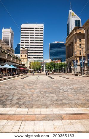 WESTERN AUSTRALIA, PERTH - NOVEMBER 2016: A view of Forrest Place Square