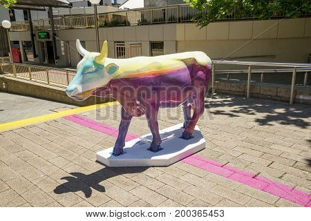 WESTERN AUSTRALIA, PERTH - NOVEMBER 2016: Colorful painted cow as part of CowParade event