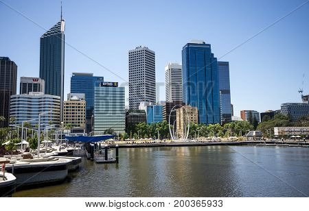 WESTERN AUSTRALIA, PERTH - NOVEMBER 2016: Perth City view from Elizabeth Quay Bridge with The Spanda sculpture in waterfront