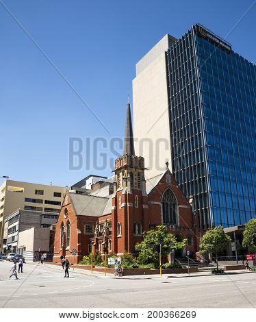 WESTERN AUSTRALIA, PERTH - NOVEMBER 2016: Wesley Uniting Church at corner of Hay Street and William Street