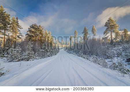 Snow covered norwegian road and pine forest with dramatic light and sky in Finnskogen, Hedmark Norway