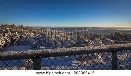 Vetatoppen, viewpoint tower in Fredrikstad, Norway. Winter sun snow and blue sky. Pine and spurce trees covered with snow