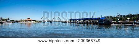 WESTERN AUSTRALIA, PERTH - NOVEMBER 2016: Panorama of Elizabeth Quay with Bridge Jetty and Island