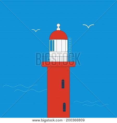 Vector illustration: Red Little Lighthouse icon made in a simple flat style. Little Red Lighthouse also known as Jeffrey's Hook Light, Fort Washington Park on the Hudson River in New York City.