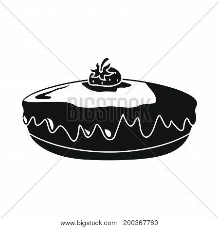 Pie bakery product in black simple silhouette style icons vector illustration for design and web isolated on white background. Pie bakery product vector object for labels and logo