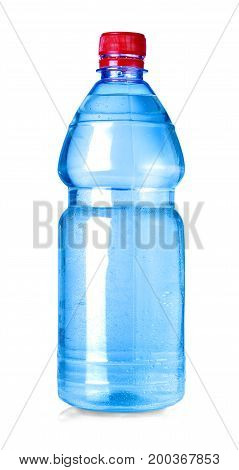 blue water bottle isolated on white with clipping path