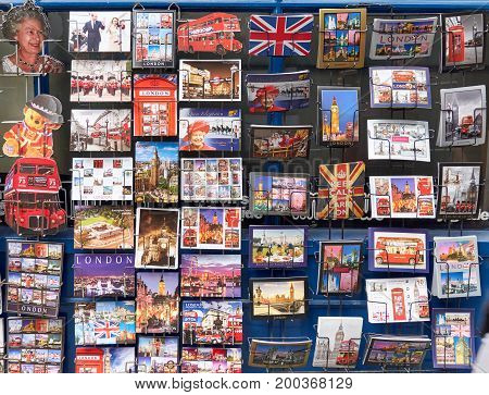 LONDON ENGLAND - MAY 13 2017 : Different post cards of London and England