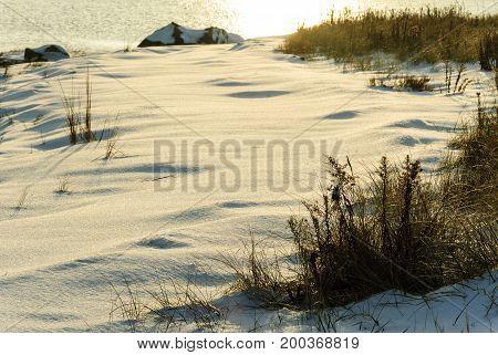 Late autumn snow along Buzzards Bay shoreline