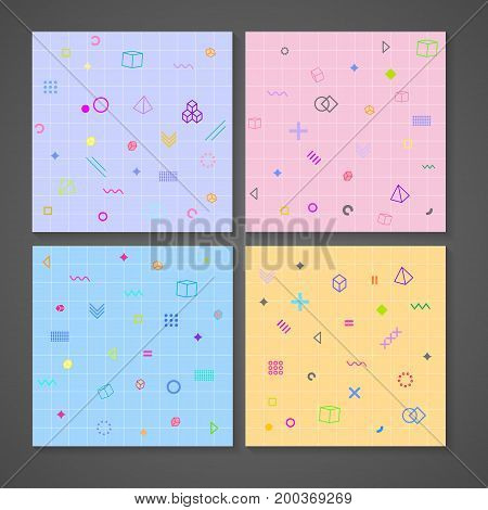 pattern with graphic elements on colorful background