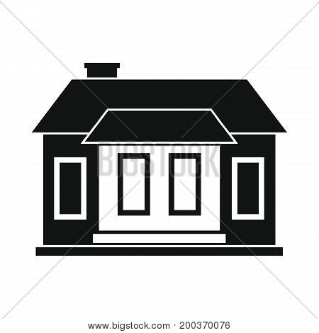 Residential city house black simple silhouette icon vector illustration for design and web isolated on white background. Residential house vector object for labels  and advertising