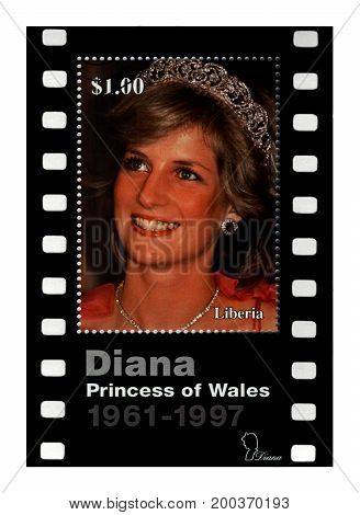 LIBERIA - CIRCA 1997: cancelled stamp printed in Liberia shows 21st Birthday of princess Diana circa 1997. vintage post stamp isolated on black background.