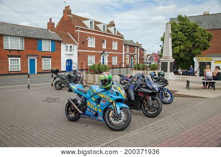 16th July 2017, Burnham on Crouch, Essex.  Motorcyclists gather at the town.
