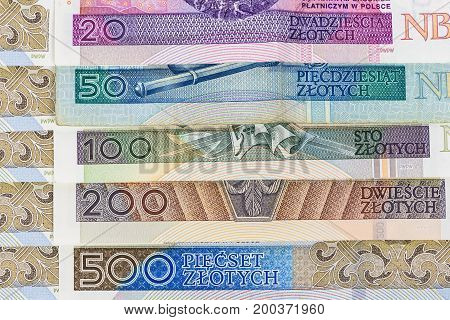 Closeup of set of polish zloty banknotes laying in a row