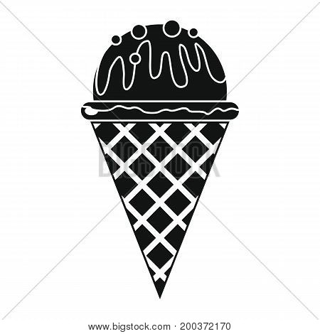 Ice cream in cone black simple silhouette icon vector illustration for design and web isolated on white background. Ice cream vector object for labels  and advertising