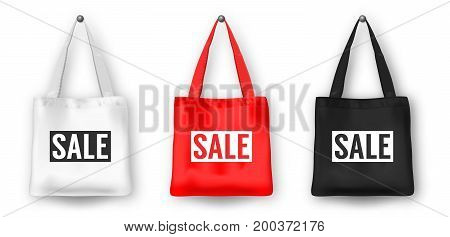 Realistic vector black, white and red empty textile shopping tote bag icon set, with word SALE. Closeup isolated on white background. Design templates for advertise, branding, mockup. EPS10 illustration.