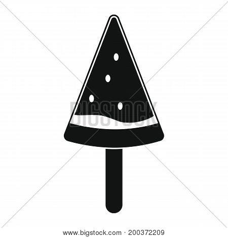 Watermelon ice cream in stick black simple silhouette icon vector illustration for design and web isolated on white background. Watermelon ice cream vector object for labels  and advertising