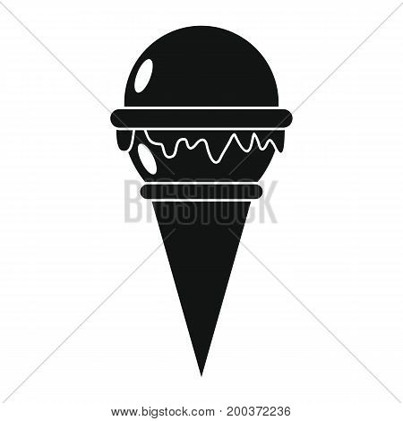 Vanilla ice cream in cone black simple silhouette icon vector illustration for design and web isolated on white background. Ice cream vector object for labels  and advertising