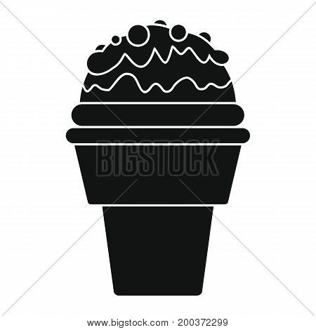 Chocolate ice cream in cone black simple silhouette icon vector illustration for design and web isolated on white background. Chocolate ice cream vector object for labels  and advertising