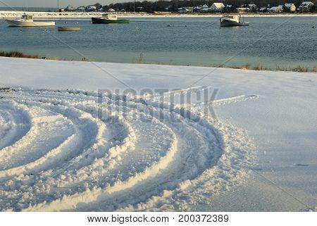 Tracks in new snow at Hoppy's Landing on Buzzards Bay