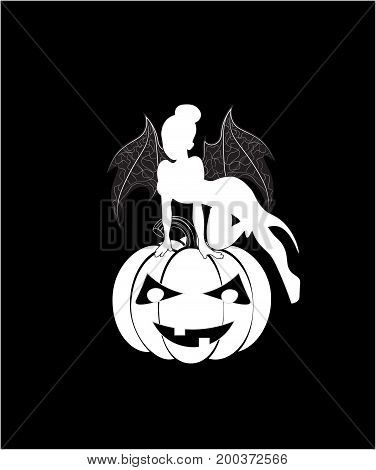 Halloween fairy on pumpkin with wings of a devil