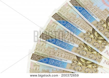 New banknotes of 500 polish zloty isolated on white background with clipping path
